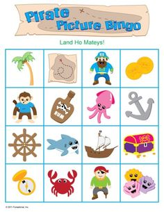 Printable Pirate Games, but with sidewalk chalk? give kids a list of pics, have them draw it, then play bingo. Preschool Pirate Theme, Pirate Activities, Pirate Games, Preschool Activities, Pirate Songs For Kids, Pirate Day, Pirate Birthday, Birthday Games, Pirate Pictures