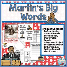 Celebrate the contributions, words, and teachings of Martin Luther King Jr.with this book companion and lapbook project for grades three through five. Includes before, during, after materials to go with Martin's Big Words, the lapbook project, and a reflections page (writing prompt) 23 pages