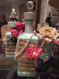 Vintage glass bottle repurposed into to Shabby by TiffinyBrooks at Etsy $45.00