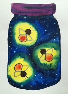 Kathy's AngelNik Designs & Art Project Ideas: Glow in The Dark Firefly Art Lesson - watercolor technique plus glow in the dark paint for a fun effect