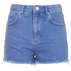 TOPSHOP MOTO Ultra Blue Mom Shorts (99 BRL) ❤ liked on Polyvore featuring shorts, bottoms, pants, short, vibrant blue, short shorts, blue short shorts, topshop shorts and blue shorts