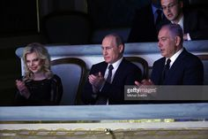 MOSCOW, RUSSIA - JUNE, 7 (RUSSIA OUT) Russian President Vladimir Putin, Israeli Prime Minister Benjamin Netanyahu and his wife Sara Netanyahu visit the Bolshoi Theatre on June 7, 2016 in Moscow, Russia. Netanyahu is on a state visit to Russia.