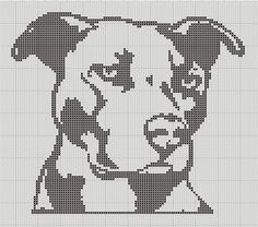 Pit Bull Staffy Silhouette Small Cross Stitch by TheSoftScientist