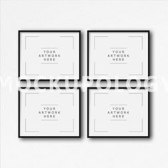 8x10 16x20 24x30 set of four horizontal digital black frame on white plain wall background mockup styled photography instant download