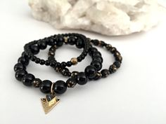 8mm Natural Round Black Onyx Gemstone Stretch Bracelet Stack, AA Quality Beads Reiki Charged Handcrafted Smudge Infused 3 in 1 Unit