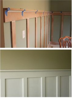 Stunning Ideas: Old Wainscoting Ideas wainscoting board and batten entrance.Wainscoting Basement Entry Ways oak wainscoting products.Shiplap Wainscoting Board And Batten. Faux Wainscoting, Wainscoting Ideas, Wainscoting Kitchen, Wainscoting Nursery, Wainscoting Height, Sweet Home, Diy Casa, Home Remodeling, Home Renovation