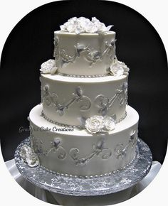 Elegant Silver and White Wedding Cake by Graceful Cake Creations, via Flickr