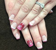 Valentine's Day nails- French with ombre accent nail.  Courtesy of Nails By Adrienne, Fuquay-Varina NC.
