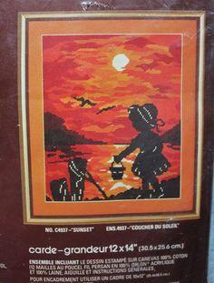 Vintage Bucilla Sunset C4937 Needlepoint Kit 12 x 14 Inch Unopened #Bucilla