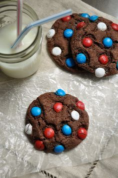 Chewy Chocolate Cookies with M's by @Gloria - The Ginger Snap Girl