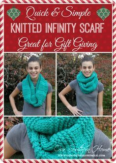 Quick & Easy FREE knitted infinity scarf pattern for gift giving from Our Southern Home