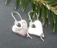 Silver Heart Earrings Valentine Gift Idea by BonArtsStudio on Etsy