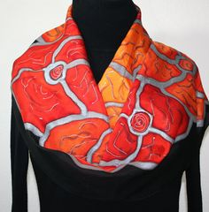 Hand painted silk scarf Tiger Flowers by SilkScarvesColorado (the store actually exists?)
