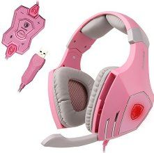 SADES USB Pro PC Gaming Headset Surround Sound Stereo Over-the-Ear Headband Headphones with High Sensitivity Mic Bass Vibration Noise-Canceling Volume Control Wolf Logo Flashing LED Lightings (Pink) Cute Headphones, Gaming Headphones, Headphones With Microphone, Headphone With Mic, Gaming Headset, Pink Games, Pink Laptop, Gaming Computer, Gameroom Ideas