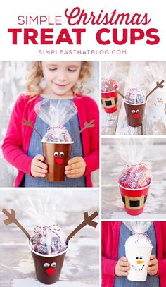 Simple Christmas Treat Cups - quick and inexpensive fun for the kids this holiday season! These cute cups are perfect for party favours, classroom treats and make an easy holiday craft! teacher gifts, gift ideas for teachers