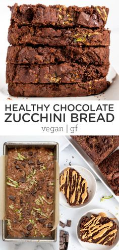 You're going love this HEALTHY Chocolate Zucchini Bread! It's vegan and gluten-free, naturally sweetened and loaded with chocolate chips. Made with clean ingredients like banana, quinoa and oat flour, and coconut sugar. Easy homemade, from-scratch recipe that is great for meal prepping breakfast! Vegan Dessert Recipes, Vegan Breakfast Recipes, Gluten Free Recipes, Bread Recipes, Healthy Recipes, Vegan Baking, Healthy Baking, Healthy Breads, Healthy Chocolate Zucchini Bread