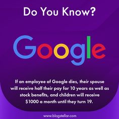 If an Employee Of Google Dies, their spouse will receive half their pay for 10 Years as well as stock benefits, and children will receive $1000 a month until they turn 19. #factsinhindi #gajabtathya #factgram #indianfacts #wowfacts #humanfacts #factknowledge #knowledges #knowledgebygoogle #technology #tech #2020tech #googlefact #googleclassroom #googlehome #googlefacts #googlefail #seo #searchengine #bing #duckduckgo #blogstellar #doyouknow #didyouknow Body Workout At Home, At Home Workouts, Wow Facts, Amazing Facts, Google Facts, General Knowledge Facts, Beautiful Nature Wallpaper, Google Classroom, Stupid Memes