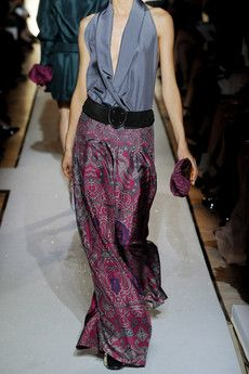 Yves Saint Laurent, printed silk-habotai palazzo pants.  I love these but something tells me I would have to break in a lot of places and kill a lot of people for these.