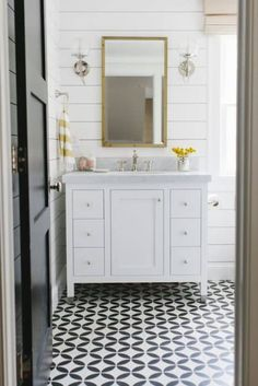 Out with the pink fixtures and in with cement tile and shiplap walls for one very happy guest bathroom. By Studio McGee Cement tile and shiplap walls make for one very happy guest bathroom. Ship Lap Walls, Guest Bathroom, Shiplap Bathroom, White Tile Floor, Bathroom Flooring, Beautiful Bathrooms, Bathroom Redo, Bathroom Inspiration, Tile Bathroom