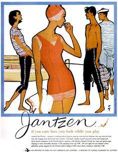 theniftyfifties:    A 1959 Jantzen swimwear advertisement illustrated by Rene Gruau.