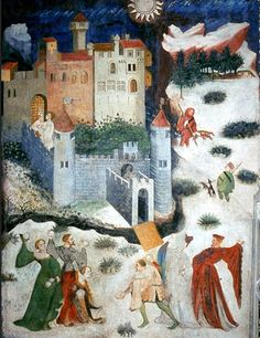 January Fresco, 15th C fresco on the walls of the Torre Aquila in the Buonconsiglio Castle, Trento.  aka: SNOWBALL FIGHT IN OUR HOUPPELANDES!