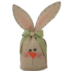 Craft Outlet Burlap Bunny Head Figurine Image 2 of 2