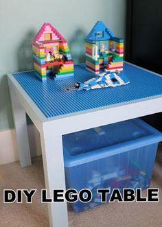 Ikea Lack Side Table + glued on Lego bases = LEGO TABLE