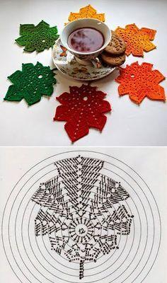 Crochet Leaf Patterns, Crochet Leaves, Crochet Motifs, Crochet Diagram, Crochet Chart, Crochet Designs, Crochet Doilies, Crochet Flowers, Crochet Diy