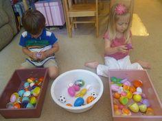 montessori plastic egg activity -- great for fine motor skills and dexterity http://mamato3blessings.blogspot.com/2012/04/montessori-learning-with-plastic-eggs.html