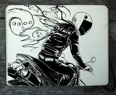#309 Pac Man by Picolo-kun Gabriel Picolo, Notebook Drawing, Notebook Doodles, Moleskine Sketchbook, Sketchbooks, Minecraft Pixel Art, Black And White Drawing, White Pen, The Road