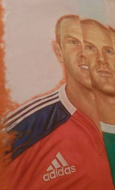 Paul O'Connell painting - next step, adding in the detail to the Munster jersey.