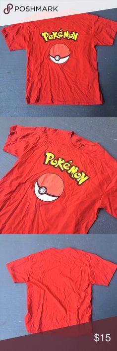Red pokeball tee Red Pokémon poke ball tee  Excellent condition  No stains no damages no holes  Fits perfect to size  Come check out the rest of my closet   Vintage vtg retro pikachu 90s anime Pokemon Shirts Tees - Short Sleeve