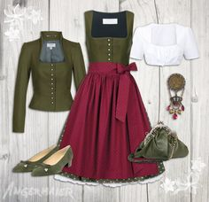 Ein schönes, klassisches Outfit: Dirndl Pillersee, Trachtenjanker Salzburg, Dirndlbluse Herlinde #Angermaier