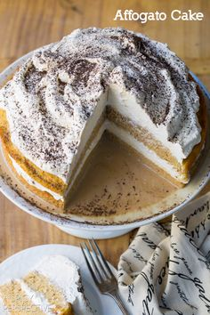 Amazing Affogato Cake - Silky luxurious cake with espresso cream! #holiday #espresso #cake