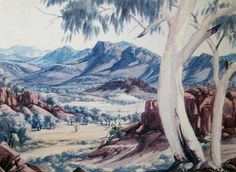 Works on Paper - Albert Namatjira - Australian Art Auction Records Aboriginal History, Aboriginal Culture, Aboriginal Artists, Watercolor Landscape, Watercolour Painting, Landscape Art, Landscape Paintings, Australian Painting, Australian Artists