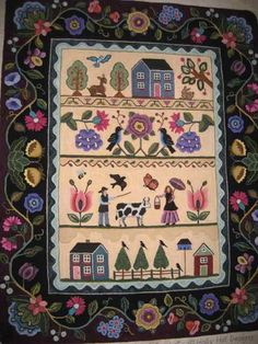 """Cow Lady Sampler"" by Susan Quicksall. It's 4′x5′ and hooked in a 4 cut."
