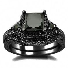 Black Princess Cut Diamond Engagement Ring Wedding Set - This unique certified Black Princess Cut Diamond Engagement Ring Wedding Set are stamped in Black Gold. An excellent AAA quality carat solitaire princess cut black diamond is set atop the ring. Gothic Engagement Ring, Unusual Engagement Rings, Black Diamond Engagement, Wedding Engagement, Do It Yourself Jewelry, Do It Yourself Fashion, Gold 1, White Gold, 18k Gold