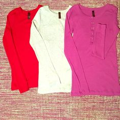 New Items Tee Shop Trio from Victoria's Secret From VS Tee Shop. These three tops of a soft and sexy lounge wear option. All three are like new. Some thread has come from the bottom hem of the pink one. Can easily be re-sewn, I'm just not handy. Victoria's Secret Tops Tees - Long Sleeve