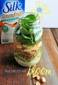 Mason Jar Cucumber Noodle Salad with Creamy Lemon Poppyseed Dressing // via Nosh and Nourish #Silkbloom