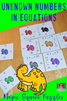 Learn about unknown numbers with your 1st & 2nd graders using these missing addends addition magic square math puzzles! Perfect in a classroom or home school. Low prep, just print, cut & go! This fun reusable game provides hands on activities to keep students engaged while learning necessary algebra skills. Great for test prep, stations, centers, review, early & fast finishers, enrichment, GATE & critical thinking skills. {first, second, grade, homeschool, basic operations} Magic Squares Math, Math Minutes, Fast Finishers, Maths Puzzles, Critical Thinking Skills, A Classroom, Test Prep, Hands On Activities, Algebra