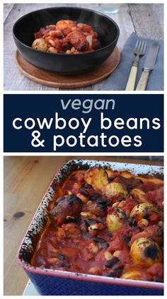 A easy one-pot bake of cowboy style sausages and beans with added potatoes. This simple recipe is a real family favourite and suitable for vegetarians and vegans. Vegan Bean Recipes, Vegan Dinner Recipes, Vegetarian Recipes Easy, Veggie Recipes, Baking Recipes, Vegetarian Cooking, Vegan Food, Healthy Food, Slow Cooker Beans