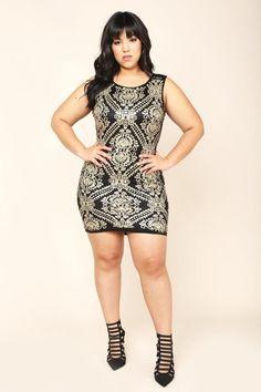 Sequin Baroque Black & Gold Plus Size Bodycon Dress