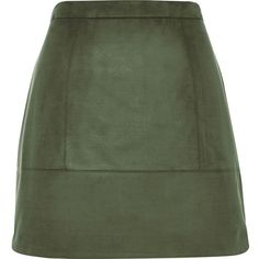 River Island Khaki faux-suede A-line skirt (465 ARS) ❤ liked on Polyvore featuring skirts, bottoms, river island, khaki, sale, a-line skirts, faux suede a line skirt, knee length a line skirt, green skirt and tall skirts