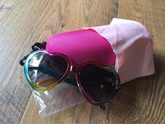 Vintage Lolita Heart Shaped Sunglasses Womens Colorful Frame Gray PC Lens