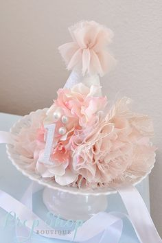 Girl's Shabby Chic Primrose Birthday Party Hat by propshopboutique