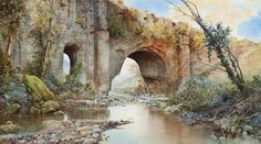 Ettore Roesler Franz (1845-1907) A River Running Under An Aquaduct On The Roman Campagna 1904 (54 x 96 cm)