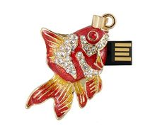 2GB Goldfish Design USB Flash Drive with Jewelry Surface (Red)