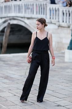 In Venice, top by Tibi, pants by Sportmax, shoes by Zara, bag by Valentino, lipstick [Ruby Woo] by Mac Cosmetics - afterDRK