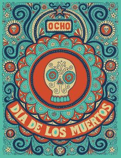 dia de los muertos illustration Teal as a color reference...DE