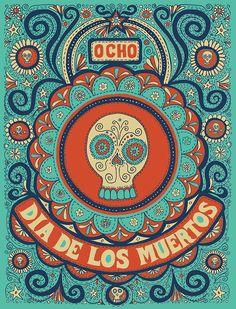 love this - super cute & quirky dia de los muertos poster